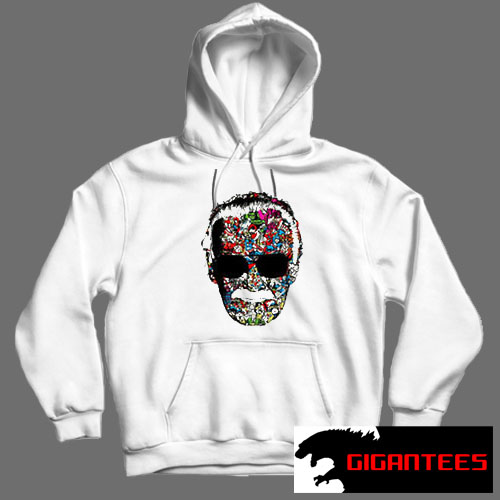 Stan Lee Head Baseball Superheroes White color Hoodies