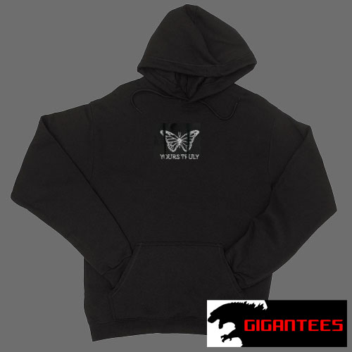 Yours Truly Rhinestone Butterfly Black color Hoodies