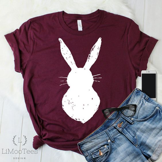 Distressed Bunny Easter Ladies Shirt ZNF08