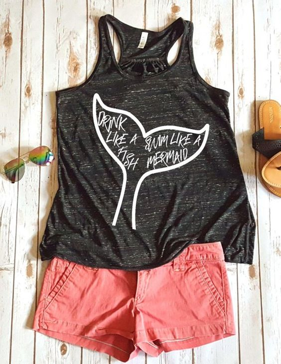 Drink like a fish Swim like a mermaid Women's Tank Top ZNF08
