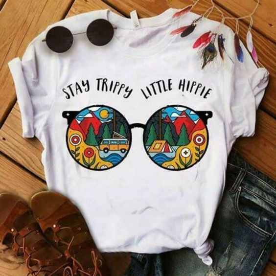 Glasses Stay Trippy Little Hippie Ladies T-Shirt ZNF08