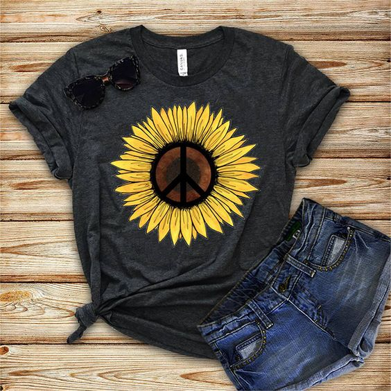 Hippie Sunflower Peace Symbol shirt ZNF08