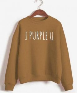 I Purple U Printed Sweatshirt ZNF08