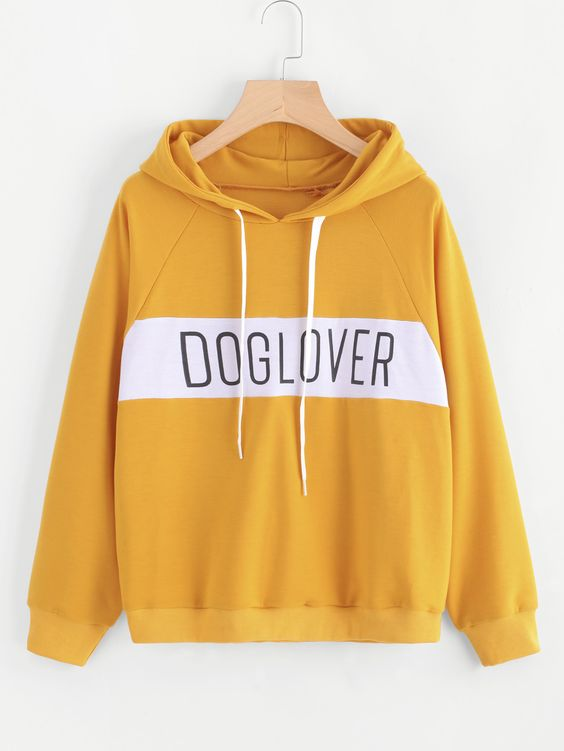 Letter Print Color Block Hoodie ZNF08