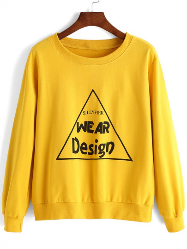 Yellow Round Neck Triangle Letters Print Sweatshirt ZNF08