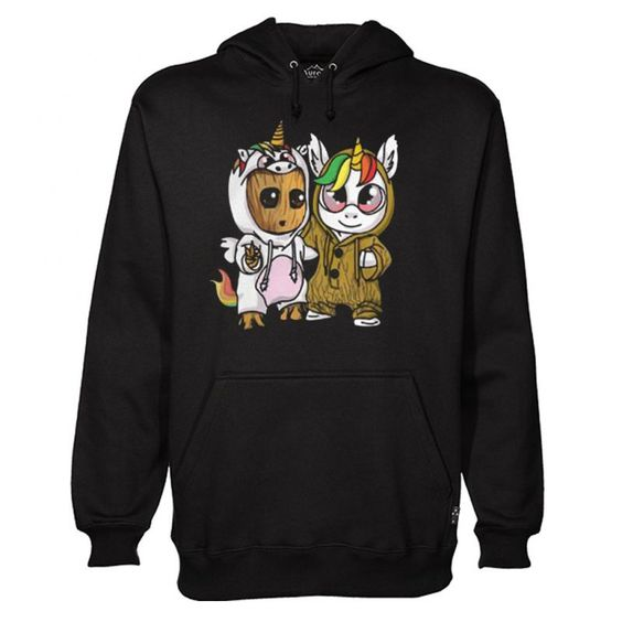 Unicorn Eyes Glasses And Baby Groot Hoodie ZNF07