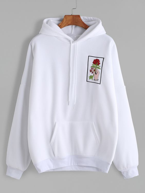 White Drop Shoulder Hand Rose Embroidery Hooded ZNF08