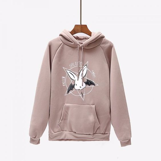 Winter Fleece Coat Fashion Bat Print Harajuku Lace Up Hooded ZNF08