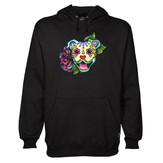 Day of the Dead Pitbull Sugar Skull Dog Hoodie ZNF8