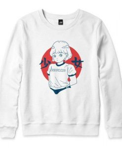 Girl White Sweatshirt ZNF08