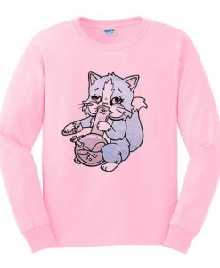 cat kitty pot sweatshirt ZNF08