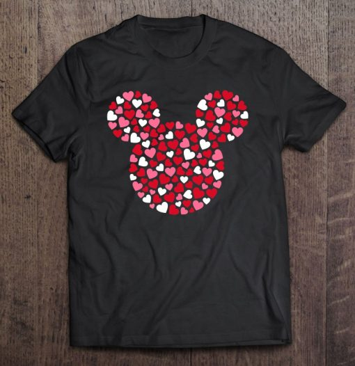Mickey Mouse Icon Pink Hearts Valentine's Day T-Shirt